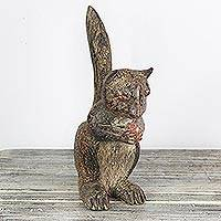 Wood sculpture, 'Lucky Squirrel' - Hand Crafted Sese Wood Lucky Squirrel Sculpture from Ghana