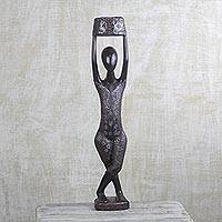 Wood sculpture, 'Beautiful Midnight' - Hand Carved African Sese Wood Sculpture with Aluminum