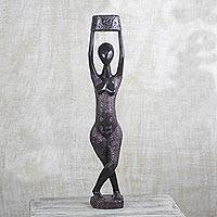 Wood sculpture, 'Woman at Midnight ' - Handmade Sese Wood Aluminum African Sculpture Hand Carved