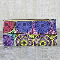 Cotton clutch bag, 'Rippling Nsubura' - Handmade 100% Cotton Multicolor Clutch Bag Made in Ghana