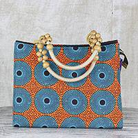 Cotton handle handbag, 'Sunset Spring' - Handmade Cotton Handle Handbag Sese Wood Accents West Africa