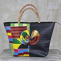 Cotton and faux leather handle handbag, 'Floating Abstraction' - Handmade 100% Cotton and Synthetic Leather Shoulder Bag