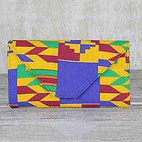 Cotton clutch bag, 'Kente Clutch' - Handmade Cotton Kente Geometric Multicolor Clutch Bag