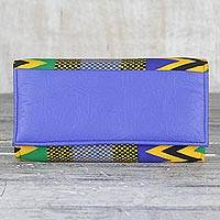 Cotton and faux leather clutch bag, 'Cool Geometry' - Handmade 100% Cotton and Faux Leather Blue Clutch