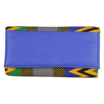 Handmade 100% Cotton and Faux Leather Blue Clutch