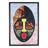 Cotton batik collage, 'Pure Wisdom' - Ghanaian Batik African Mask Oil on Cotton Collage