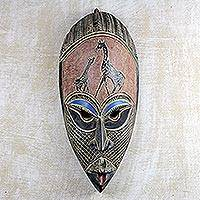 African wood mask, 'Giving Thanks' - Hand Carved Rubberwood African Mask Wall Art from Ghana