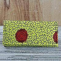 Cotton clutch, 'Sunny Outlook' - Red and Yellow Cotton Print Clutch with Interior Pockets