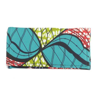 Multi-Colored Linear Floral Cotton Clutch with Pockets