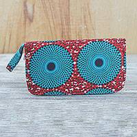 Cotton clutch, 'Subura' - Red and Turquoise Circle Cotton Clutch with Interior Pockets