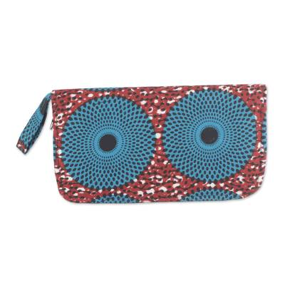 Red and Turquoise Circle Cotton Clutch with Interior Pockets