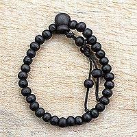 Wood beaded stretch bracelet, 'Awelawa' - Black Sese Wood Beaded Stretch Bracelet from Ghana