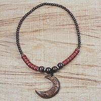 Wood and recycled plastic beaded pendant necklace, 'Kae Me Moon' - Wood and Recycled Plastic Beaded Pendant Necklace from Ghana