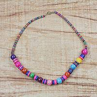 Agate and glass beaded necklace, 'Kae Bibi' - Multi-Colored Recycled Glass Agate Hand Beaded Necklace