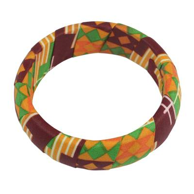 Wrapped Cotton Print Bangle Bracelet in Green and Orange