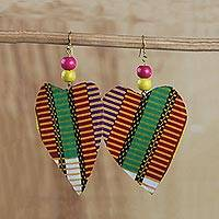 Cotton and wood dangle earrings, 'Grateful Heart' - Heart Shaped Cotton Print Sese Wood Dangle Earrings