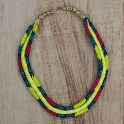 Cotton long necklace, 'Good Chance' - Multi-Colored Cotton Print Statement Necklace from Ghana