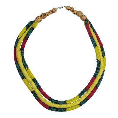 Multi-Colored Cotton Print Statement Necklace from Ghana