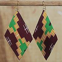 Cotton dangle earrings, 'Divine Power' - Multi-Colored Cotton African Print Kite Dangle Earrings