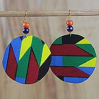 Cotton dangle earrings, 'Quiet Grace' - Multi-Colored Cotton Print Fabric Sese Wood Dangle Earrings