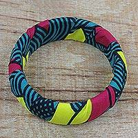 Wood and cotton bangle bracelet,