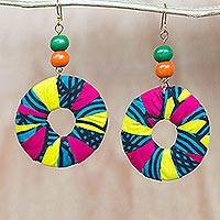 Cotton dangle earrings, 'Royal Circles' - Beaded Cotton African Print Circle Earrings with Brass Hooks