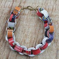 Recycled paper link bracelet, 'Eco Nkonson' - Recycled Paper Link Bracelet from Ghana