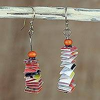 Recycled paper and wood dangle earrings, 'Love Festival' - Recycled Paper and Wood Accordion Earrings from Ghana