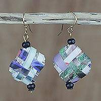 Recycled paper and wood dangle earrings, 'Thinking of Home' - Colorful Recycled Paper and Wood Dangle Earrings from Ghana