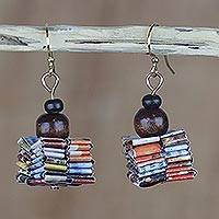 Recycled paper and wood dangle earrings, 'Pampam Store' - Handcrafted Recycled Paper and Wood Dangle Earrings