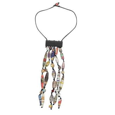 Recycled Paper Waterfall Necklace Crafted in Ghana