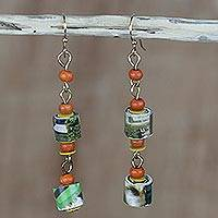 Recycled paper and wood dangle earrings, 'Akosombo Light' - Handcrafted Recycled Paper and Sese Wood Dangle Earrings