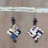 Recycled paper and wood dangle earrings, 'Maize and Peanuts' - Recycled Paper and Sese Wood Dangle Earrings from Ghana