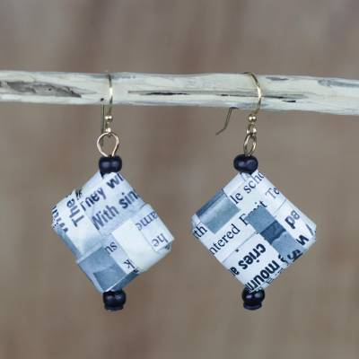 Recycled paper and wood dangle earrings, 'Avid Reader' - Text-Themed Recycled Paper Dangle Earrings from Ghana