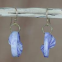 Recycled paper dangle earrings, 'Beach at Dawn' - Blue Recycled Paper Dangle Earrings from Ghana