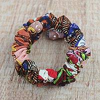 Cotton wrap bracelet, 'Colorful Together' - Multicolored Cotton Fabric Terracotta Bead Wrap Bracelet