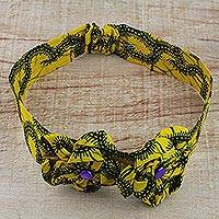 Cotton headband, 'Vitality' - Yellow and Black Cotton Print Headband from Ghana