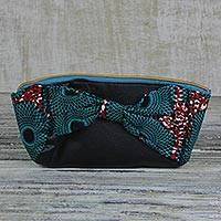 Leather and cotton clutch purse, 'Beautiful Bow' - Cotton and Faux Leather Clutch Purse Crafted in West Africa
