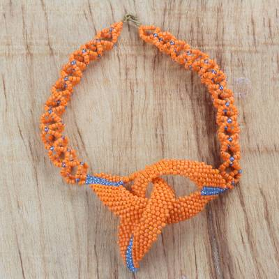 Recycled glass beaded statement necklace, 'Splendid Love' - Blue and Orange Recycled Beaded Statement Necklace