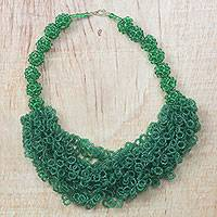 Recycled glass beaded statement necklace, 'Splendid Leader' - Emerald Green Recycled Beaded Glass Statement Necklace