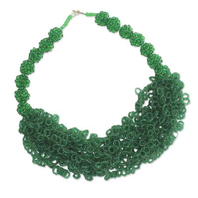 Emerald Green Recycled Beaded Glass Statement Necklace