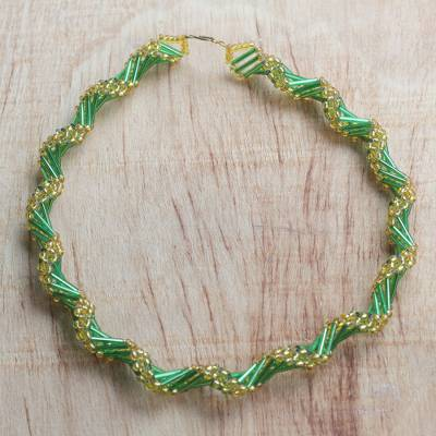 Recycled glass beaded statement necklace, 'Splendid Fortune' - Green and Gold Recycled Beaded Glass Statement Necklace
