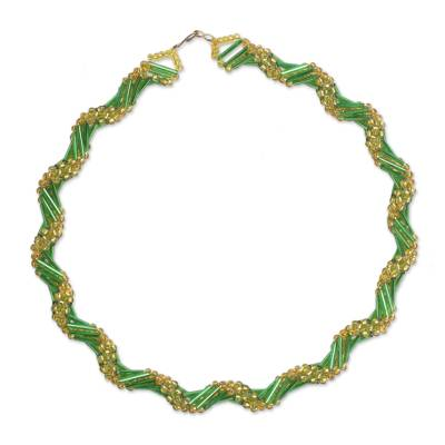 Green and Gold Recycled Beaded Glass Statement Necklace
