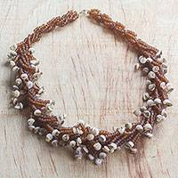 Recycled glass beaded statement necklace, 'Splendid Luck' - Chocolate and Tan Recycled Beaded Glass Statement Necklace