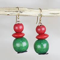 Sese wood and recycled plastic dangle earrings, 'Cool Watermelon' - Red and Green Sese Wood Recycled Plastic Dangle Earrings