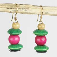 Wood and recycled plastic dangle earrings, 'Raspberry Bush' - Pink and Green Stacked Sese Wood Beaded Dangle Earrings