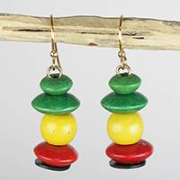 Wood and recycled plastic beaded dangle earrings, 'Boho Life' - Yellow Green and Red Sese Wood Boho Dangle Earrings