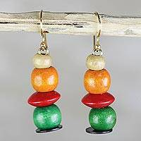 Wood dangle earrings, 'Candy Columns' - Orange Red and Green Sese Wood Candy Columns Dangle Earrings