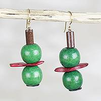 Wood and coconut shell dangle earrings, 'Divine Limes' - Green Divine Limes Sese Wood Coconut Shell Dangle Earrings