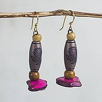 Wood and coconut shell dangle earrings, 'Ghanaian Garden' - Floral Sese Wood and Coconut Shell Dangle Earrings